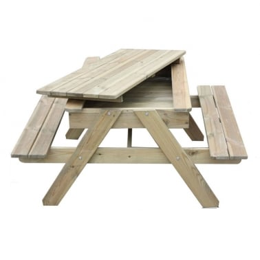 Children's Lucas Sandpit Picnic Table with Storage, Natural