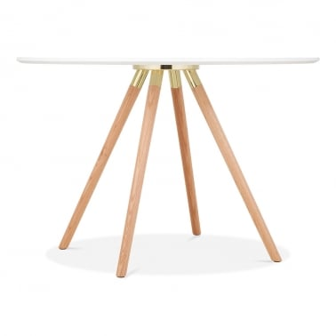 Moda CD2 Round Dining Table, Solid Oak Legs, White 110cm