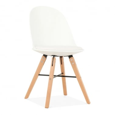 Frida Plastic Dining Chair, Beech Wood Leg, White