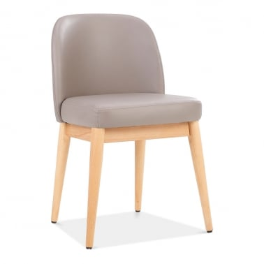 jett wooden dining chair faux leather upholstered warm grey