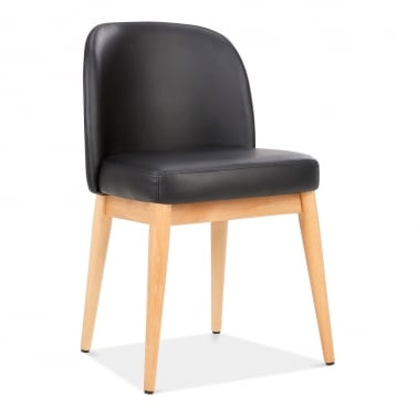 jett wooden dining chair faux leather upholstered black