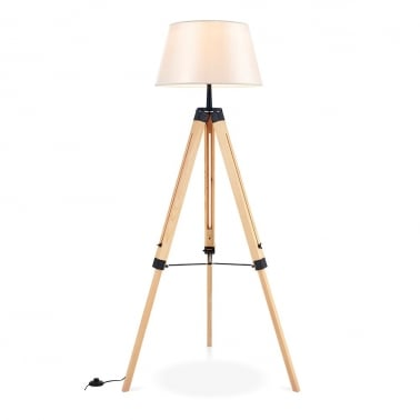 Eton Wooden Tripod Floor Lamp, Natural and Cream
