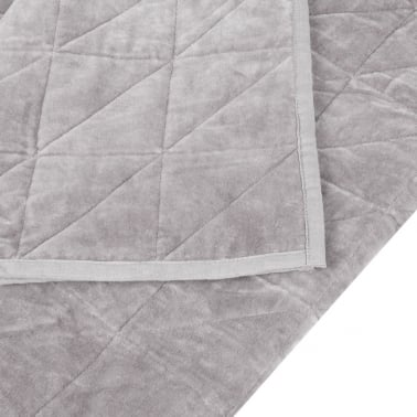 Geometric Quilted Velvet Throw, Grey