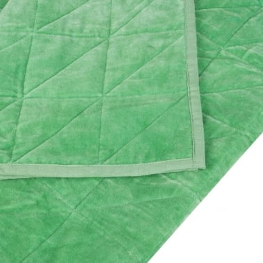 Geometric Quilted Velvet Throw, Light Green