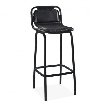 Jupiter Industrial Metal Bar Chair, Genuine Leather, Black 75cm