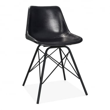 Dexter Industrial Dining Chair, Leather Upholstered, Black