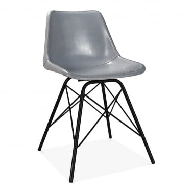 Dexter Industrial Dining Chair, Leather Upholstered, Grey