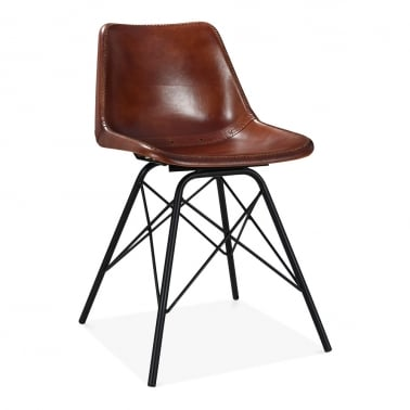 Dexter Industrial Dining Chair, Leather Upholstered, Brown