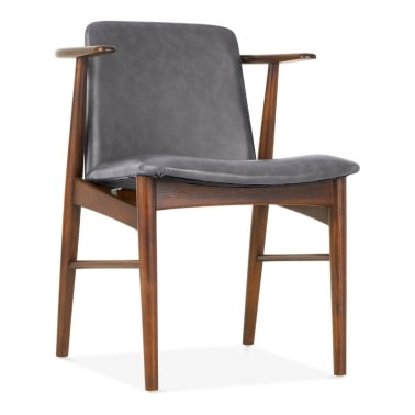 Archie Wooden Dining Armchair, Grey Faux Leather, Walnut Finish