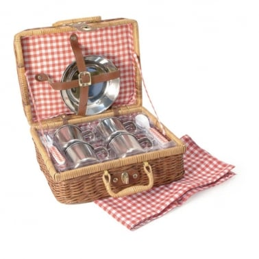 Picnic Hamper Set for 4 in Wicker Basket, Red