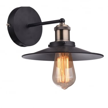 Factory Style Metal Sconce Wall Light, Black