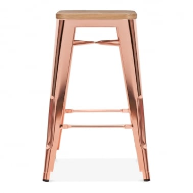 Tolix Style Metal Bar Stool, Solid Elm Wood, Rose Gold 65cm