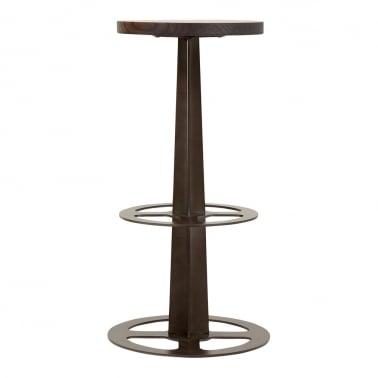 Caster Metal Bar Stool, Solid Elm Wood, Rustic 75cm