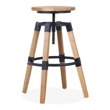 Bastille Round High Swivel Stool, Natural Wood 68-75cm