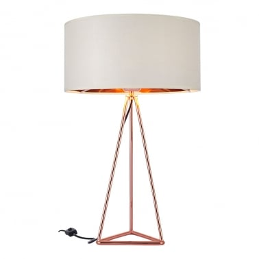 Orion Geometric Tripod Table Lamp, Copper and White