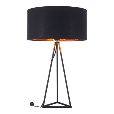 Orion Geometric Tripod Table Lamp, Black and Copper