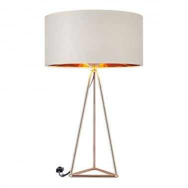 Orion Geometric Tripod Table Lamp, Gold And White
