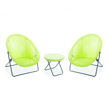 Outdoor Folding Garden Furniture Set, Synthetic Rattan, Lime Green