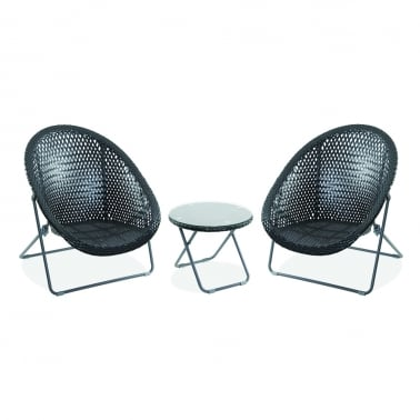 Outdoor Folding Garden Furniture Set, Synthetic Rattan, Black