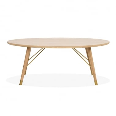 Iris Oval Coffee Table, Oak Wood, Natural 120cm