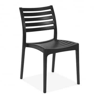 Venice Plastic Outdoor Dining Chair, Black