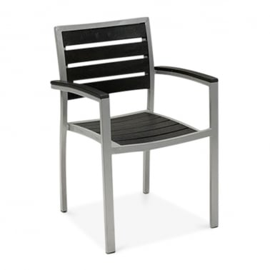 Milan Metal Outdoor Dining Armchair, Tekwood, Black