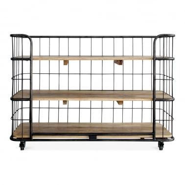Odetta Industrial Bakers Rack, Mando Wood and Iron, Large