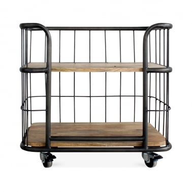 Odetta Industrial Bakers Rack, Mando Wood and Iron, Small