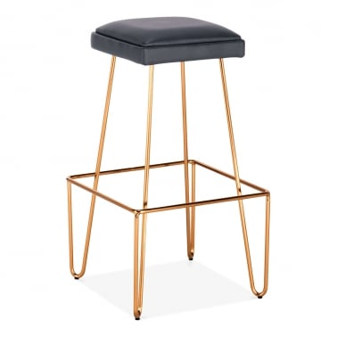 Newton Metal Bar Stool, Black Faux Leather Seat, Brass 76cm
