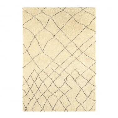 Amira Modern Floor Rug, 100% Pure Wool, Cream