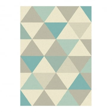 Focus Floor Rug, Pure Polypropylene, Blue Triangles