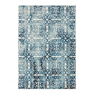 Fresco Floor Rug, 100% Pure Wool, Blue