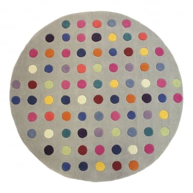Funk Spotty Circle Floor Rug, 100% New Zealand Wool, Multi-Coloured