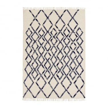 Hackney Hand-Woven Rug, Cotton Wool Blend, Blue Diamond