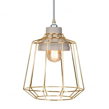 Stone Studio Cage Pendant Light Gold u0026 Concrete  sc 1 st  Cult Furniture & Contemporary Designer Pendant Lights | Home u0026 Cafe Lighting Cult UK azcodes.com