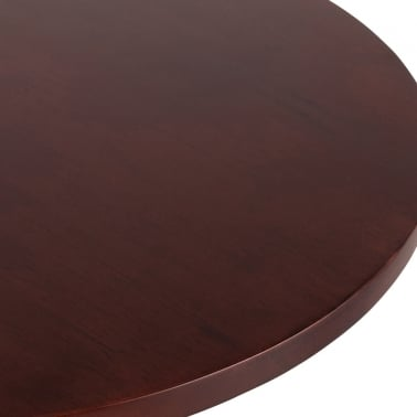 Round Cafe Table Top, Solid Oak Wood, Walnut Finish