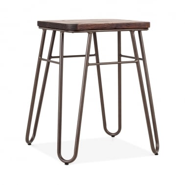 Hairpin Square Low Stool, Solid Elm Wood, Rustic 46cm