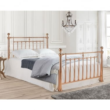 Nora Vintage Style Metal Double Bed, Rose Gold