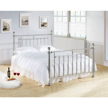 Nora Vintage Style Metal Double Bed, Chrome