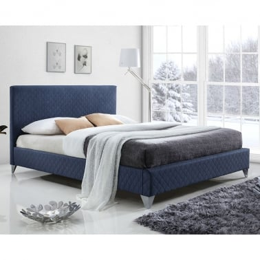 Bradshaw Quilted King Size Bed, Fabric Upholstered, Blue
