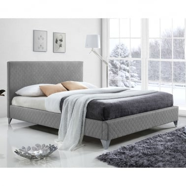 Bradshaw Quilted King Size Bed, Fabric Upholstered, Grey