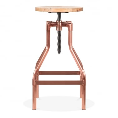 Industrial Swivel Adjustable Stool, Solid Elm Wood, Copper 65-83cm