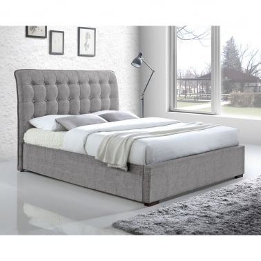 Conan Button Back Double Bed, Fabric Upholstered, Light Grey
