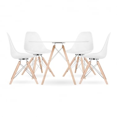 Moda CD3 Dining Set, 1 Round Table & 4 Chairs, White 110cm