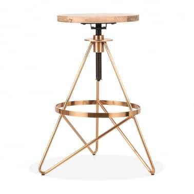 Hendrix Metal Swivel Bar Stool, Solid Elm Wood, Brass 61-75cm