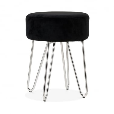 Alexa Low Stool, Black Velvet Upholstered, Chrome 33cm
