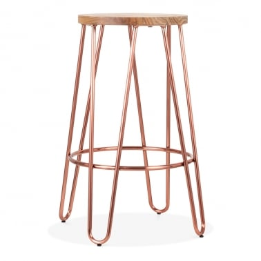Hairpin Metal Bar Stool, Solid Elm Wood, Copper 66cm