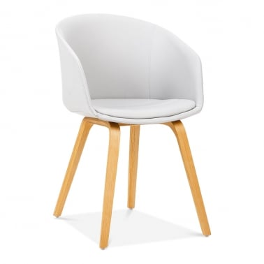 Cohen Dining Chair, Bentwood Leg Frame, White Faux Leather