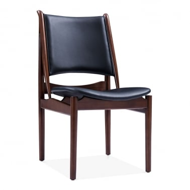 Jonah Wooden Dining Chair, Faux Leather Seat, Black