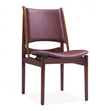 Jonah Wooden Dining Chair, Faux Leather Seat, Deep Red